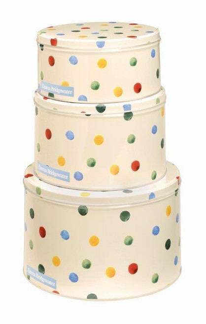 Floral and polka dot set of 3 round tins.