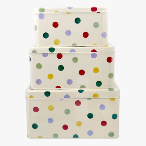 Set of 3 Emma Bridgewater Polka dot square cake tins
