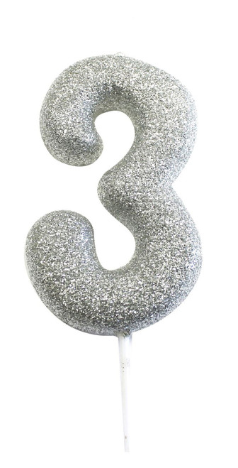 Silver glitter number 3 candle.