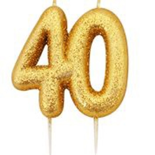 Gold glitter number 40 candle