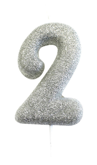 Silver glitter number 2 candle.