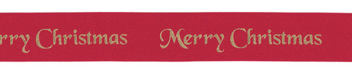 Red and gold merry Christmas ribbon. per metre