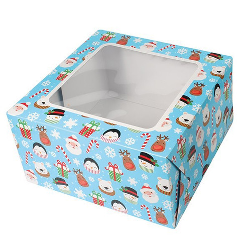 Square fun Christmas cake box 10""