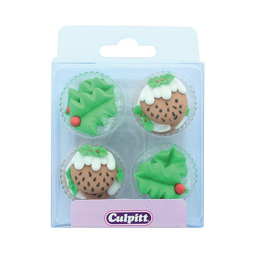 Holly and Christmas pudding sugar decorations. 12 pieces