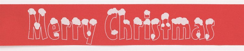 Merry Christmas red and white ribbon per metre