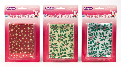 Assorted metallic Christmas cake frill