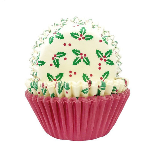 Holly and red cupcake cases