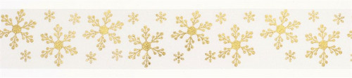 Ivory and gold snowflake ribbon, per metre