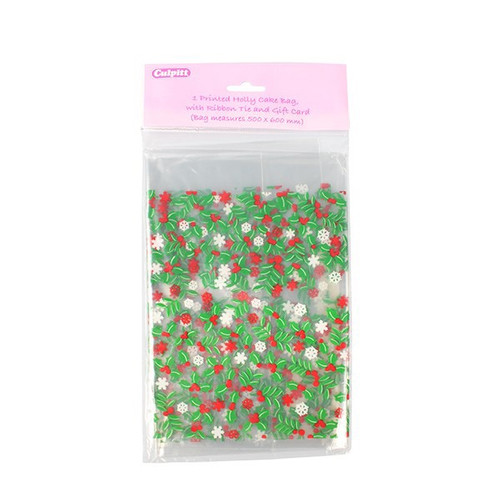 Holly cellophane bags with ribbon and tag
