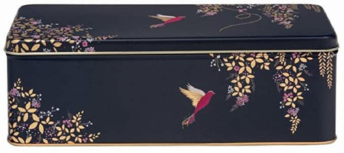Rectangular dark blue bird biscuit tin