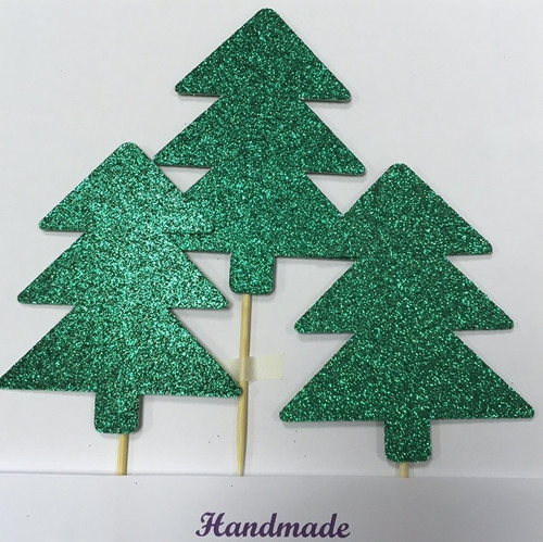 Christmas tree cake toppers Pack of 3.