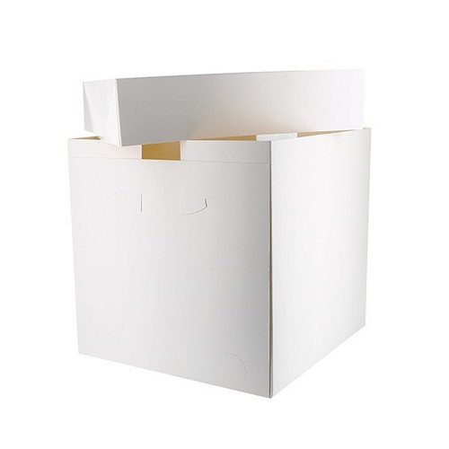 Square tall white cake box