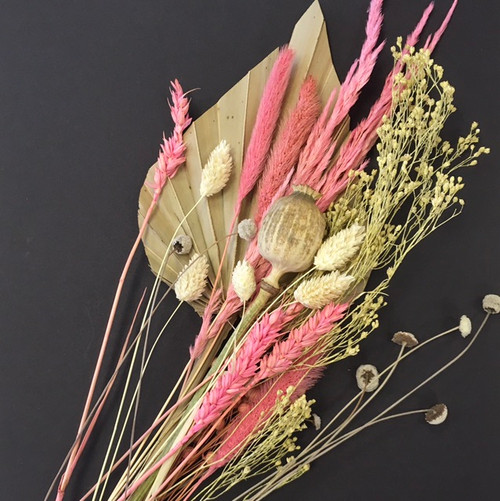 Natural and pink  fan and dried flowers medium
