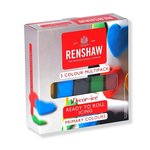 Pack of 5 primary colours sugar paste