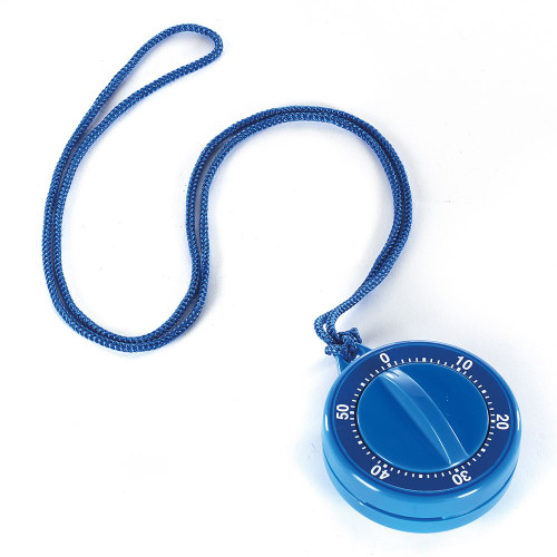 Magnetic blue mechanical timer with cord.