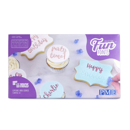 PME fun fonts cupcake and cookie stamps