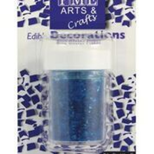 Blue edible glitter flakes