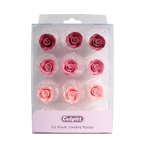 12 pink ombre roses