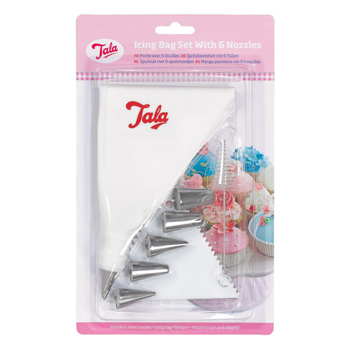 Icing set with 6 nozzles and scraper