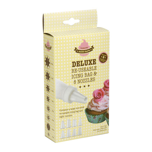 Deluxe re-useable piping bag with 8 nozzles.