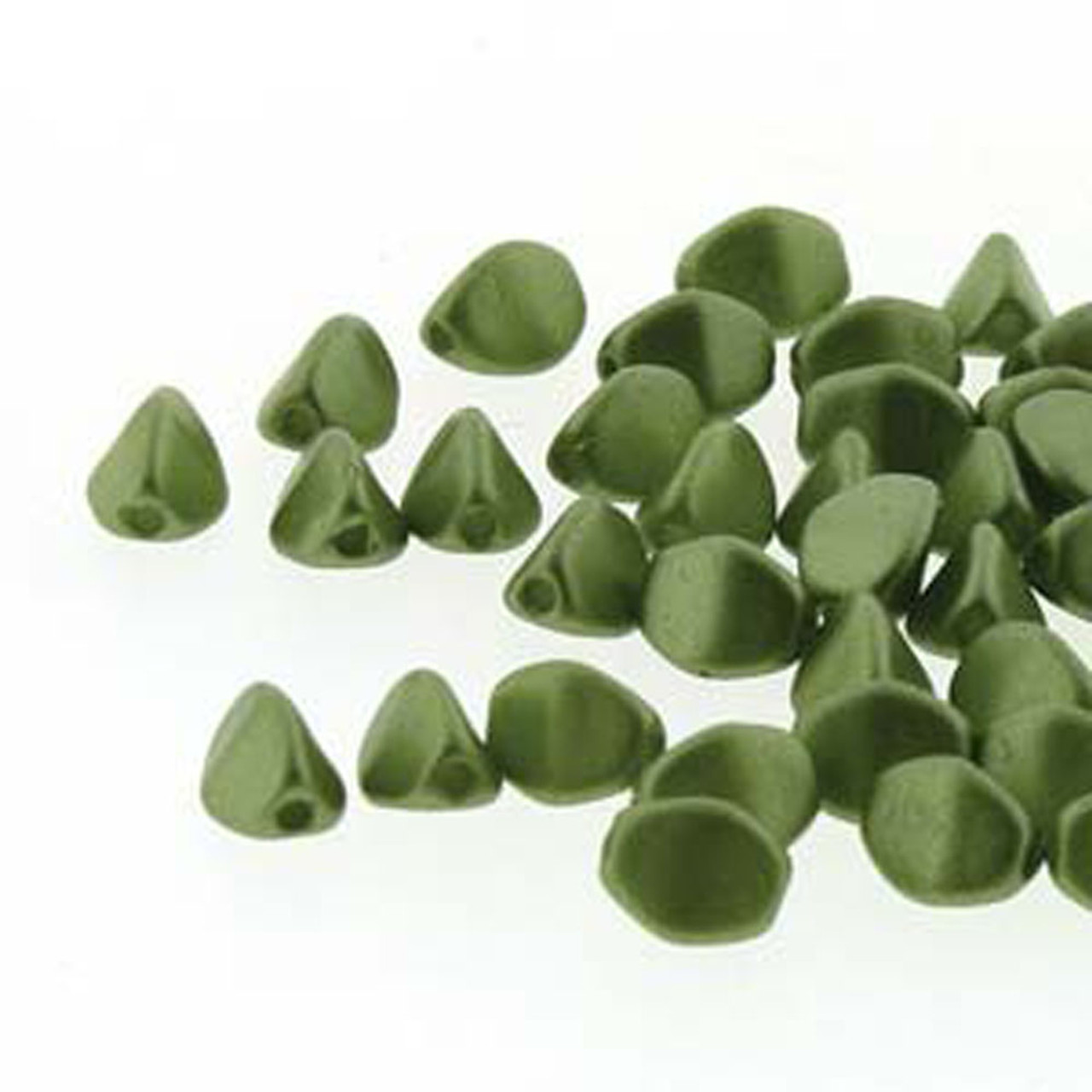 Opaque Olive Bead Soup Beads Pressed Glass Olivine Pinch Beads Czech Glass Pinch Beads