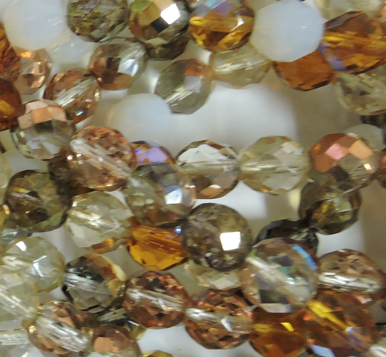 Czech glass fire polished 8mm beads Heavy Metals mix
