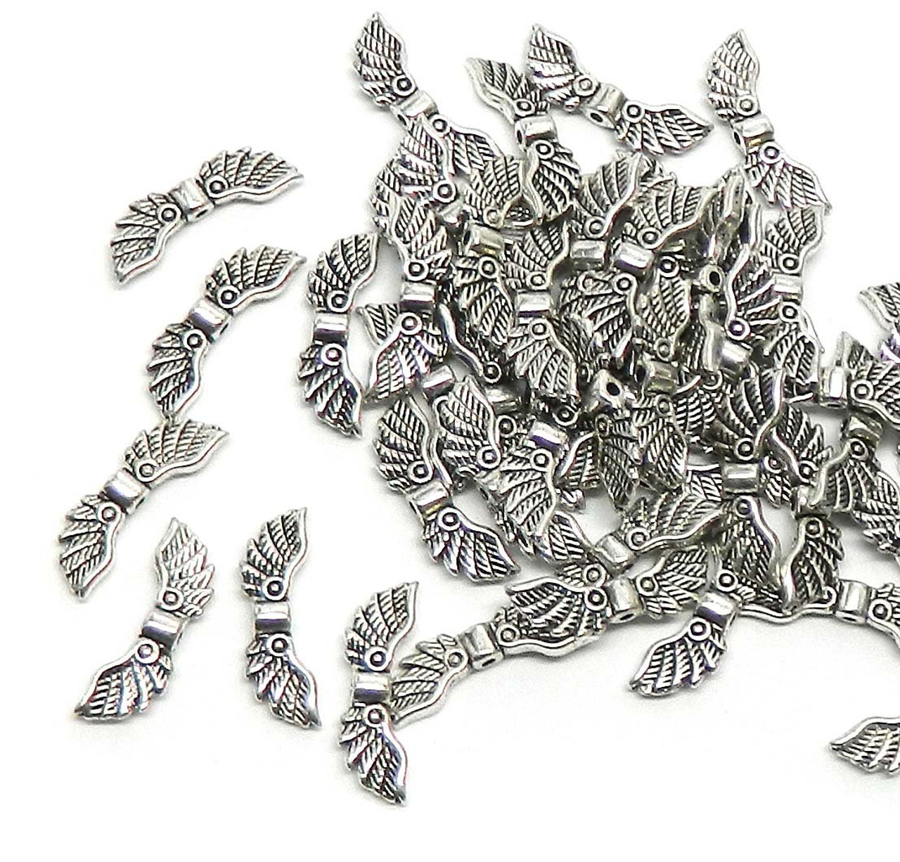 48 Angel Wings Antiqued Silver Beads Cast Zinc Metal Beads 22x7mm