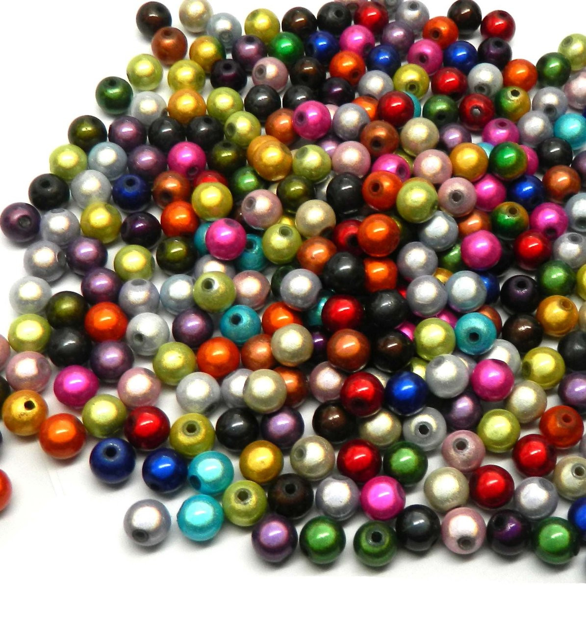 150 x Metallic Plated Acrylic Beads Round Mixed Colour 8mm