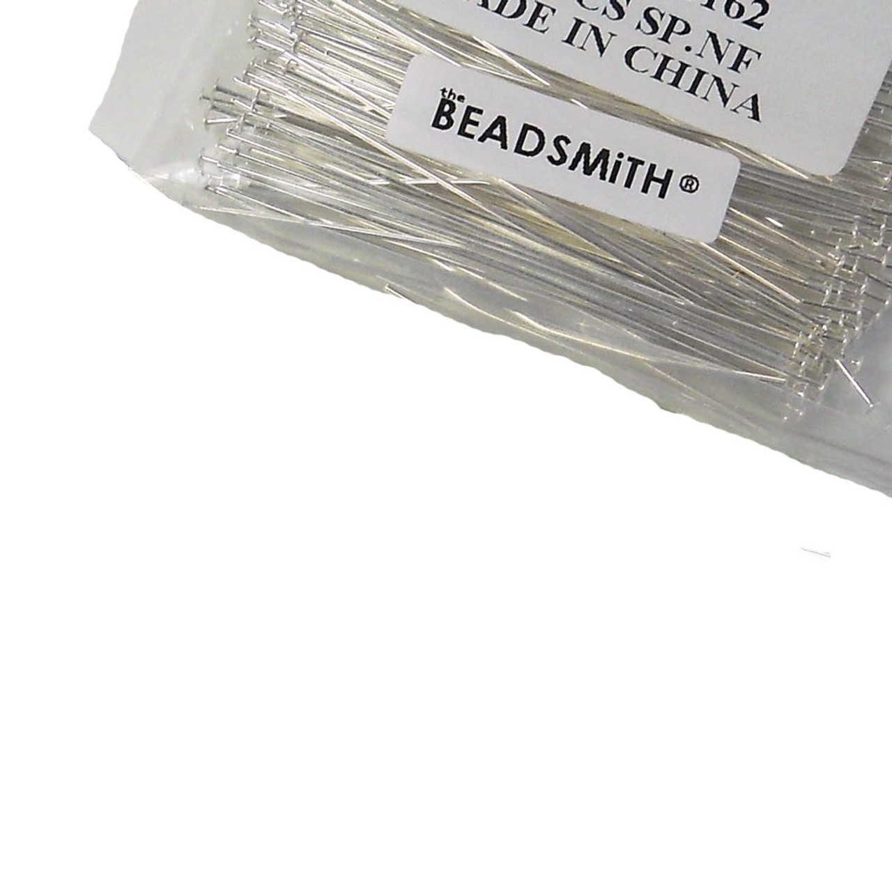 144 Head Pins .029dia X 3 Inch Silver Plating Over Brass Standard 21 Gauge Wire Beadsmith Headpins