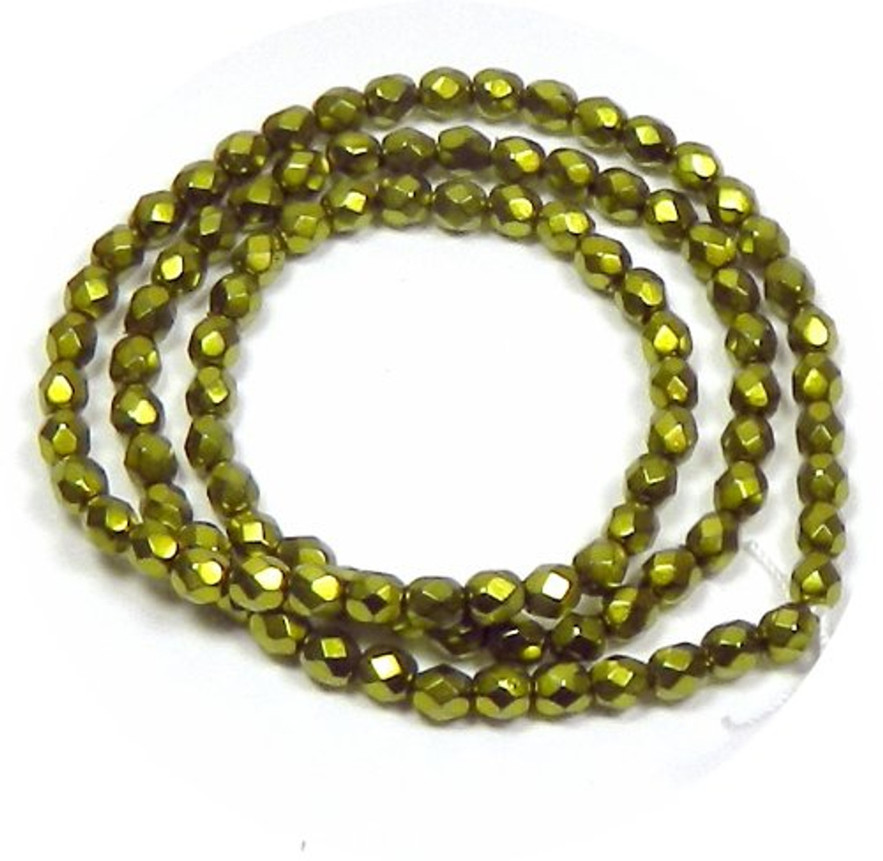 Faceted Pearls Czech Glass Fire Polished Beads in Green Carmen Metallic Pearl