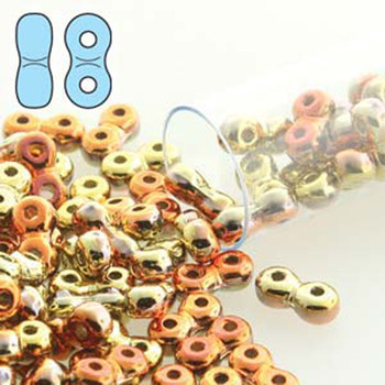 Infinity Beads 3x6mm 2-Hole Czech Glass California Gold Rush 8 Grams Inf36-23980-98542-Tb