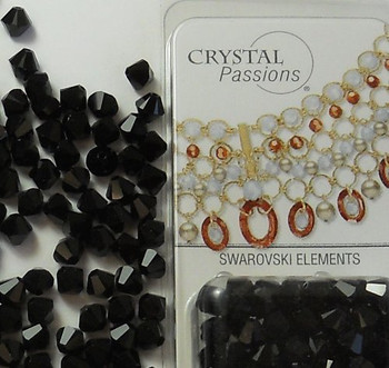 8mm Jet Black Swarovski Bicone Beads Xillian 72 Piece By Crystal Passions?? Distributor of Swarovski Elements Crystals Made in Austria Xilion Cut 5328