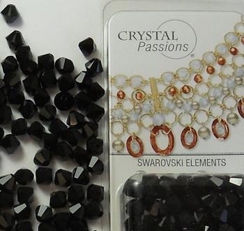 8mm Jet Black Swarovski Bicone Beads Xillian 72 Piece By Crystal Passions?? Distributor of Swarovski Elements Crystals Made in Austria Xilion Cut 5328