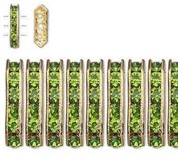 28 Gold-Finished Bead 28 Brass And Rhinestone Peridot Green 16x5mm 3-Strand 3178Mb
