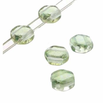 Lt Green Luster 30 Loose Beads 6mm 2-Hole Czech Glass Honeycomb Beads Hc0600030-14257