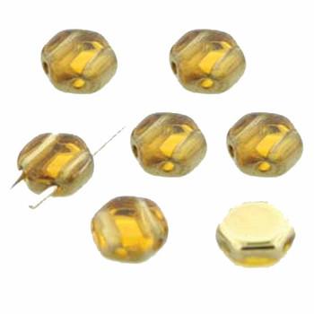 Topaz Amber 30 Loose Beads 6mm 2-Hole Czech Glass Honeycomb Beads Hc0610060-26441