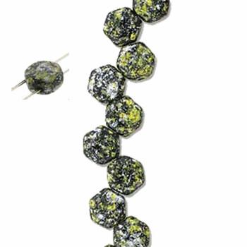 Tweedy Yellow 30 Loose Beads 6mm 2-Hole Czech Glass Honeycomb Beads Hc0623980-45701