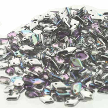 Silver Rainbow Czech Glass Dragon Scale Bead 1 5x5mm 9 5 Grams Drg398530-Tb