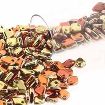 Jet California Gold Czech Glass Dragon Scale Bead 1 5x5mm 9 5 Grams Drg898542-Tb