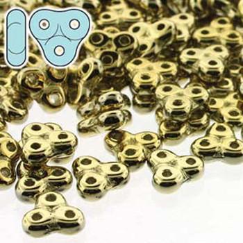 Full Amber 6mm Trinity 3-Hole Czech Glass Beads 8 Grams Trt36-00030-26440-Tb