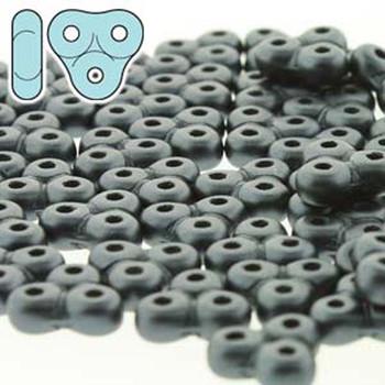Pastel Dk Grey/Hematite Trinity 3-Hole Czech Glass Beads 8x8mm 8 Grams Trt48-25037-Tb