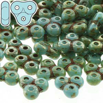 Turq Blue/Picasso Trinity 3-Hole Czech Glass Beads 8x8mm 8 Grams Trt48-63030-43400-Tb