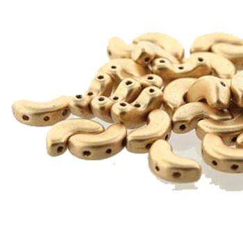 Lt Gold Matte Arcos Par Puca Cresent Moon 3-Hole 30 Czech Glass Beads Hp-Arc510-00030-01710-30Pc