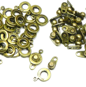 Premium Weight Ball & Socket Clasp 8mm Antiqued Brass 36 Clasps Findings Skg01Ab