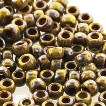 Matubo Czech Glass Seed Beads 7/0 (3.5mm) 50 Grams 1.5mm Hole (Green Picasso Op) Mtb07-53410-43400