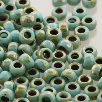 Matubo Czech Glass Seed Beads 7/0 (3.5mm) 50 Grams 1.5mm Hole (Turq Blue Picasso) Mtb07-63030-43400