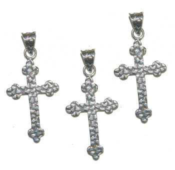 3 Cross Pendants With Bail Antique Silver Plated Copper 35x24mm Ba-K-3984