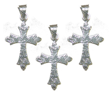3 Cross Pendants With Bail Antique Silver Plated Copper 35x25mm Ba-K-3986