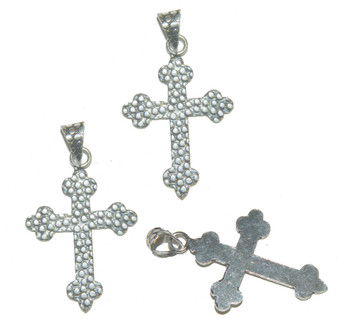 3 Cross Pendants With Bail Antique Silver Plated Copper 39x29mm Ba-K-3987