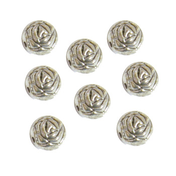 9mm Round Rose Beads Antique Silver Plated Copper 12 Pcs Ba-K-9047